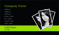 Black and Lime Green Photo Business Card Template